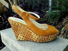 Prada Wedge Sandal Shoes Butternut Color Reg-$850 Woven Summer Leather Sandals