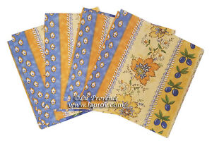 France Set of 6 100/% Cotton Placemats Provencal Poppies Lavender Blue//Red
