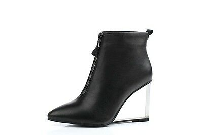 Women's Genuine Leather Wedge Shoes High Heel Pumps Zip Ankle Boots US Size b807
