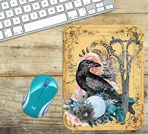 Mouse Pad Easy Glide Non Slip Neoprene with Crow and Flowers