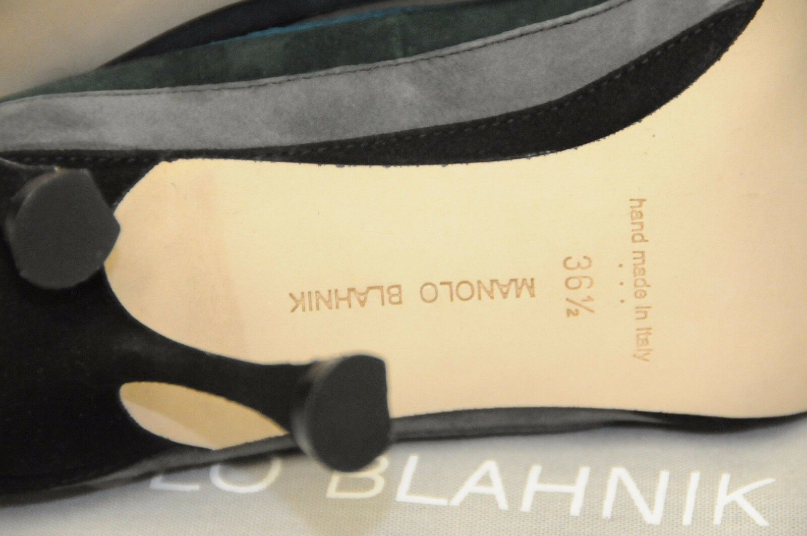 985 New Manolo Blahnik Grey Teal Green Black Black Black Suede shoes BB Heels Pumps 36.5 d52fa9