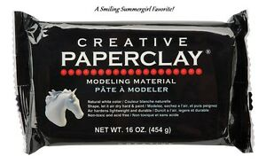 Creative PAPERCLAY Modeling Material White, Air Dry Clay, NonToxic 16 oz pkg