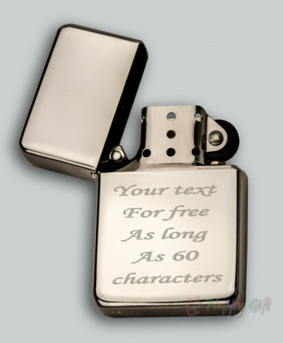 ENGRAVED star petrol lighter IN METAL TIN one or both sides WEDDING XMAS GIFT