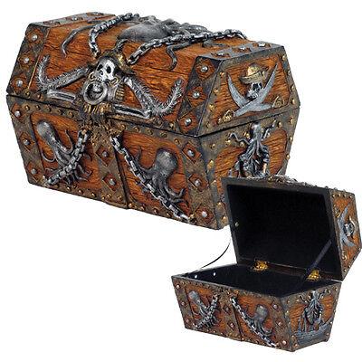 Pirate Skull Cross Blade Octopus Treasure Chest Of Caribbean Sea Jewelry Box New Ebay