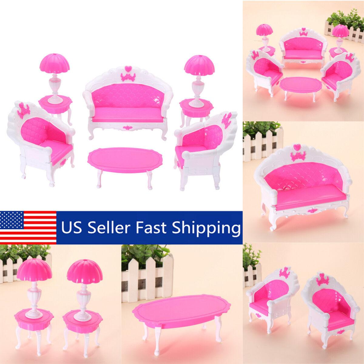 6pcs Plastic Miniature Furniture Living Room Sofa Chair Table Dollhouse Set Toy