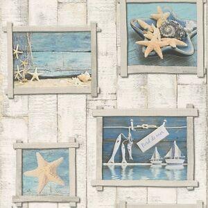 Blue Starfish Beige Wood Panel Bathroom Wallpaper Tiling on a Roll ...