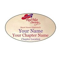 S21 Red Hat Society Personalized Name Badge W/ Premium Magnet Fastener On Back
