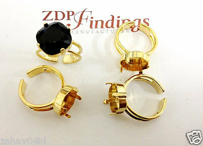Skillful Knitting And Elegant Design 4pcs 12mm Square Gold Adjustable Ring Setting For Swarovski 4470 sq1211rggp To Be Renowned Both At Home And Abroad For Exquisite Workmanship