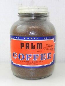 Palm 1lb. Glass Coffee Jar - S. Hamill Company Dist. Keokuk, Iowa - Full ~ T745c