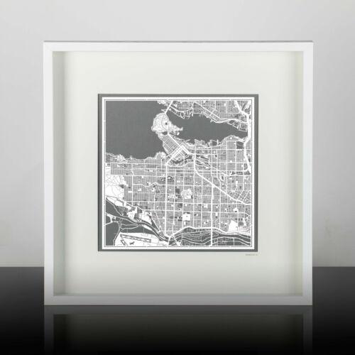 PAPER CUT MAP Vancouver Paper Art Original Design IDEAL GIFTS 12 12In.