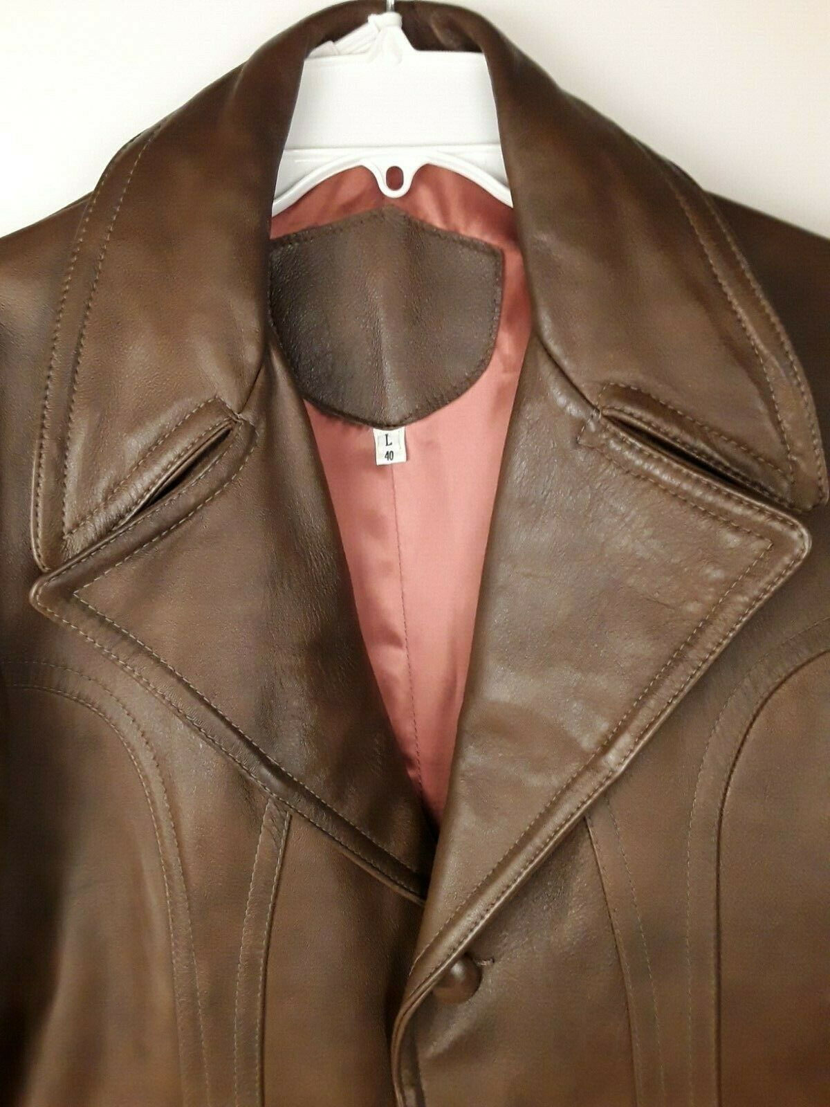 Mens Genuine Brown Leather Coat Fitted Retro 70's… - image 2