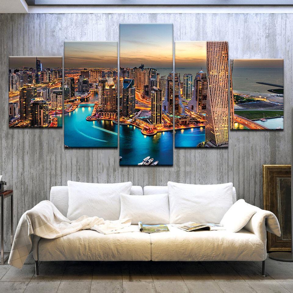 Aerial View Of Dubai City 5 Piece Canvas Print Wall Art