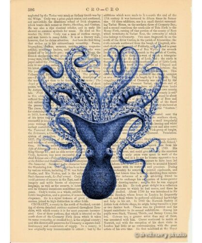 Blue Octopus #3 Art Print on Vintage Book Page Home Office Decor Gifts Tentacles