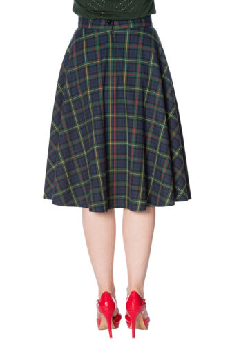 Green Check Flared Vintage Rockabilly Mrs Clause Pleated Skirt By Banned Apparel