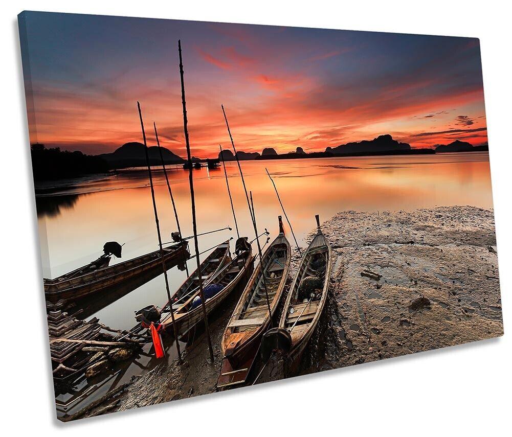 Fishing Boats Sunset Beach Print SINGLE CANVAS WALL ART Picture Orange