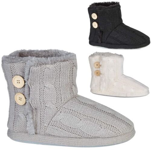 Ladies Slippers Womens Ankle Boots New Knitted Winter Warm Fur Booties Size 3-9