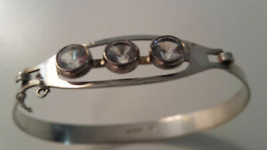 Design-Armreif-Silber-925-Finnland-Modernist-Bergkristalle-1972