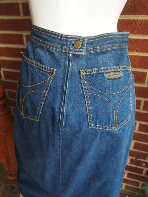 Genuine Vintage 80s BONJOUR Paris Blue Jean Denim Skirt Womens Small Mid Calf XS