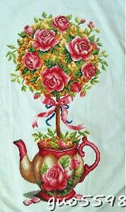 New-Finished-Cross-Stitch-Needlepoint-034-Rose-Teapot-034-Home-Wall-Decor-GIFTS