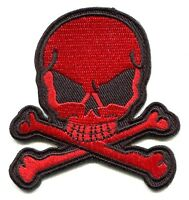 Skull & Crossbones Red & Black Embroidered Iron-on Patch 3 Free Shipping Punk