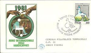 Italia Busta Filagrano Anno Handicappati 1981 Annullo Speciale Torino Fdc Demande DéPassant L'Offre