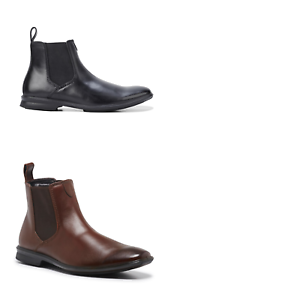 Mens-Hush-Puppies-Chelsea-Leather-Wide-Fit-Boots-Pull-On-Work-Dress-Comfort-Shoe
