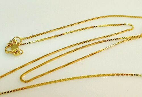 """14k Solid Yellow Gold Box Link Necklace Pendant Chain 20/"""" .8mm"""