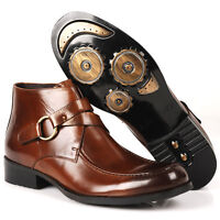 Mens Slip On Boots Dress Leather Shoes pull on Buckle Straps Biker shoes