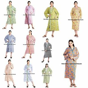 2bea6e4045 Image is loading Indian-Floral-Cotton-Robe-Dressing-Gown-Cotton-Wedding-