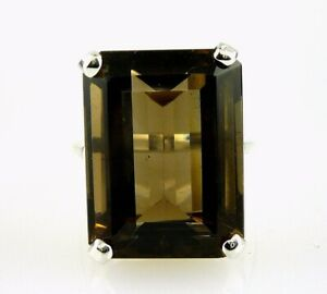Very-Large-Smokey-Topaz-Emerald-Cut-Ring-925-Sterling-Silver-20x15-MM