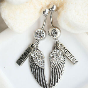 Steel-2pcs-Best-Friends-Wings-Dangle-Belly-Button-Navel-Ring-Body-Piercing