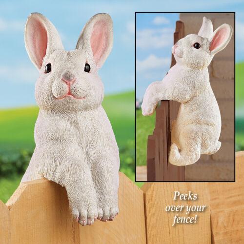 Realistic Peeping Bunny Rabbit Decorative Fence Sitter Hugger Garden Statue