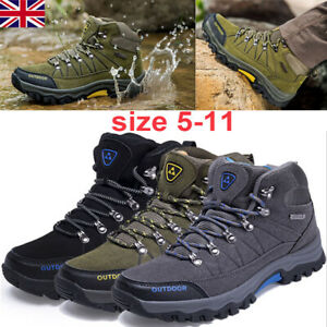 Details about Mens Leather Walking High Top Hiking Waterproof Trainers Boots Shoes Size 5 11 K