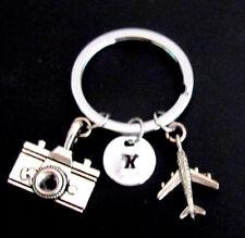 Initial airplane keychain, camera Keychain ,airplane keyring best friend jewelry