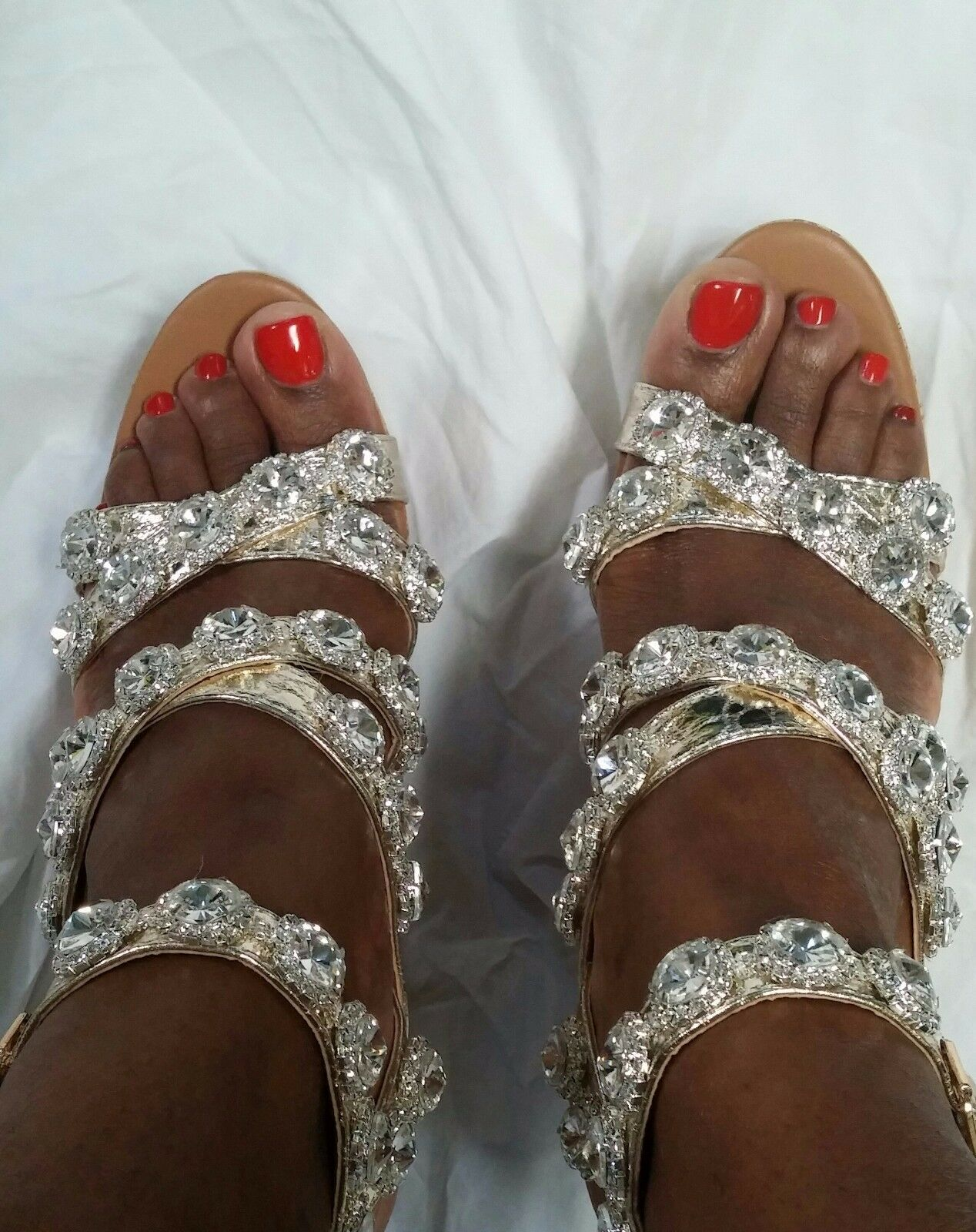 wedge Sandalee gold and silver with rhinestones
