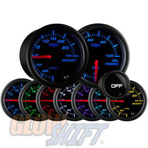 GlowShift 52mm Tinted 7 Color 30PSI Boost & 100PSI Oil Pressure Gauge Set