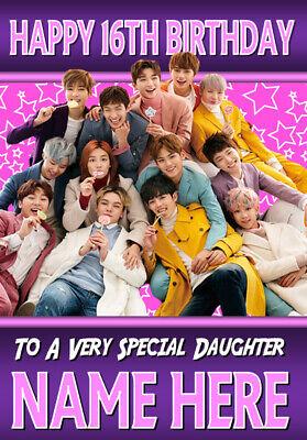 AGE RELATION KPOP ANY NAME BTS BANGTAN BOYS Personalised Birthday Card
