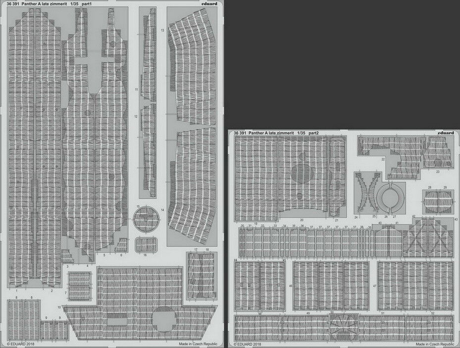 Eduard 1 35 Panther A (late) Zimmerit Detail Parts for Takom Models