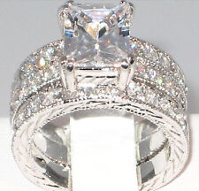 REGAL 3.7 CT Emerald Cut Milgrain CZ Bridal Engagement Wedding Ring Set - SIZE 9