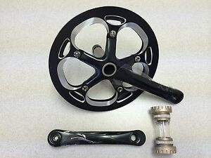 New-Unbranded-Alloy-Bike-Crankset-Chainwheel-Single-Speed-53T-165mm-Black-Silver