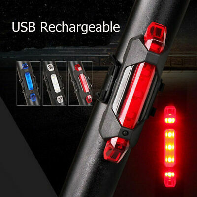 Cycling 5 LED USB Rechargeable Bike Bicycle Tail Warning Light Rear Safety Red