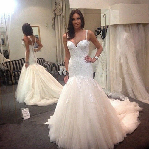Spaghetti Straps Tulle Mermaid Wedding Dress Beads Lace Bridal Gown Size 4 6 8++