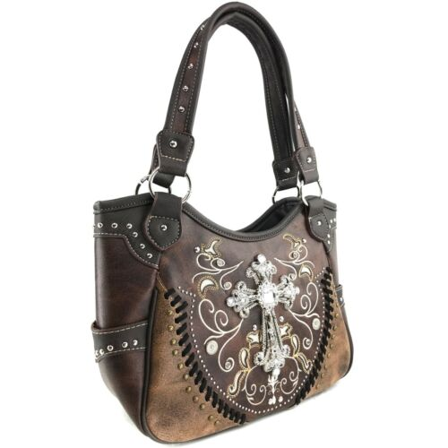 Justin West Cross Embroidery Country Ride Floral Conceal Carry Shoulder Handbag