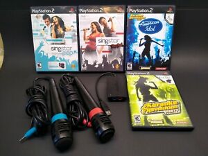 PS2-SINGSTAR-Bundle-w-2-mics-USB-Converter-4-Games-not-tested-selling-as-is