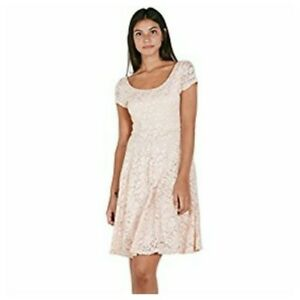 Details About Nwot Maitai Lace Fit N Flare Dress Sheer Cap Sleeve Light Pink Sz M Retail 29