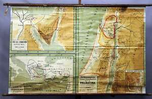 Details about old school map rollable wall chart Palestine poster print