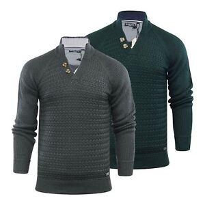 Brave-Soul-Mizrahi-Mens-Jumper-2-Button-Funnel-Neck-Sweater
