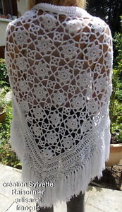 Chale Crochet Fait Main Sylvette Raisonnier Artisanat Francais Blanc Etoile * Performance Fiable