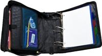 Large Zipper Binder With 5-tab File Folder School Office Organizer Blue