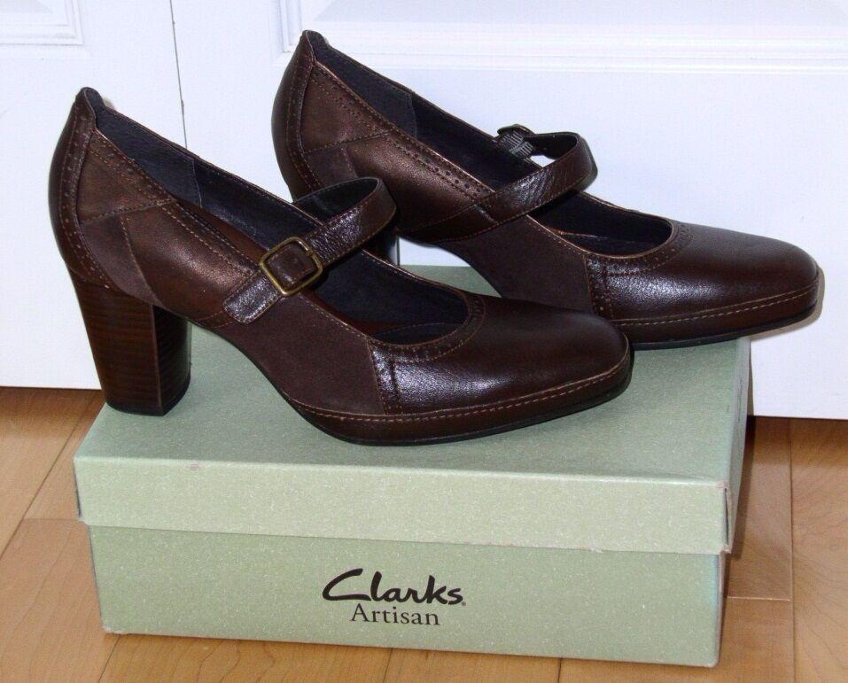New Clarks Artisan Dk Brn Lea Sunday Mary Jane Style 9